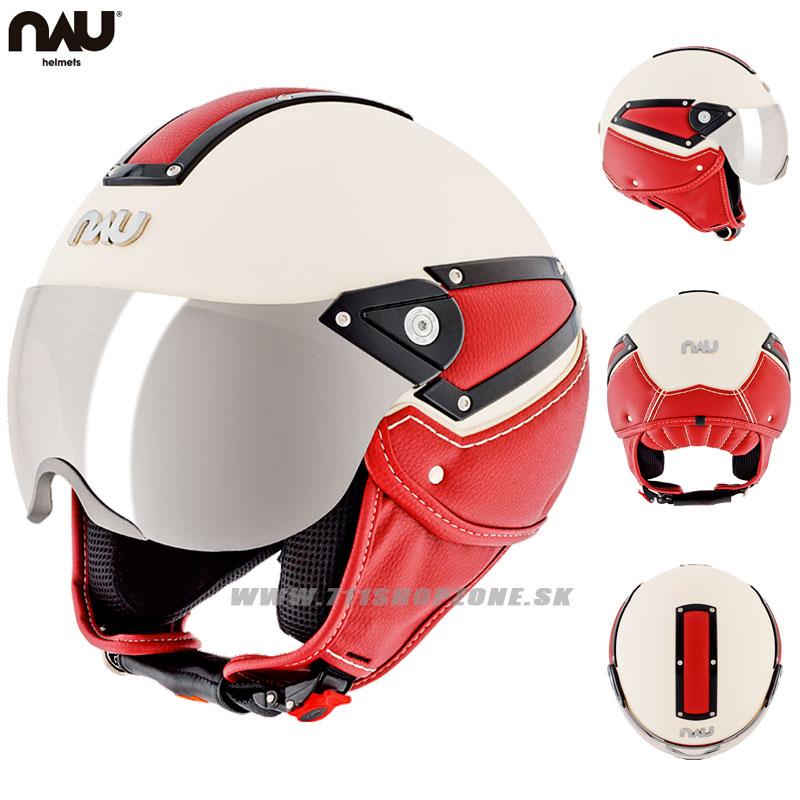 99fb5d0a58b9a Zľavy - Prilby na skúter, NAU Bossa Nova helmet, béžovo bordová